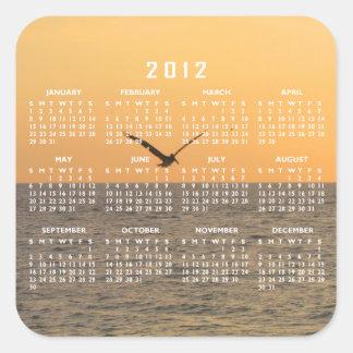 Pelícano en vuelo; Calendario 2012 Pegatina Cuadrada