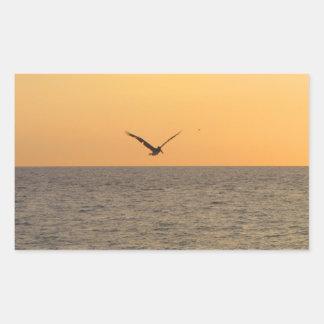 Pelícano en vuelo; Ningún saludo Pegatina Rectangular
