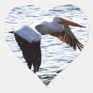 Pelícano en vuelo pegatina en forma de corazón