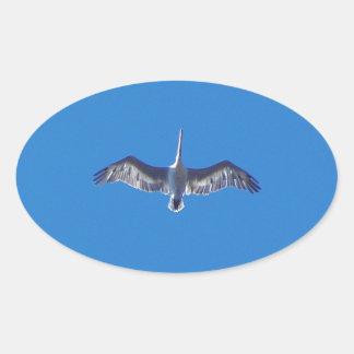 Pelícano en vuelo pegatina ovalada