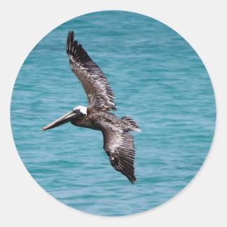 Pelícano en vuelo pegatina redonda