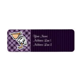 Pelícano lindo; Púrpura Etiqueta De Remitente
