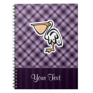 Pelícano lindo Púrpura Libros De Apuntes Con Espiral