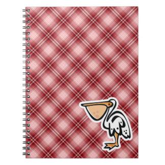 Pelícano lindo Tela escocesa roja Libro De Apuntes Con Espiral