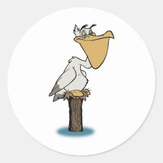 Pelícano - rescate del pájaro etiquetas redondas