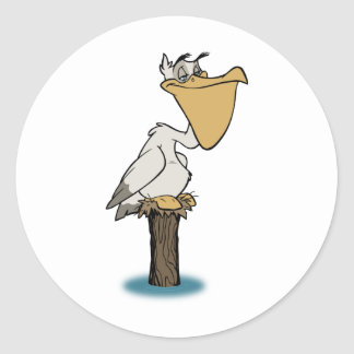 Pelícano - rescate del pájaro pegatina redonda