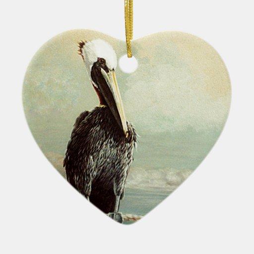 Pelícano y gaviota de Brown Adorno Navideño De Cerámica En Forma De Corazón