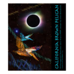 Pelícanos eclipsados con los gráficos conocidos Z Poster