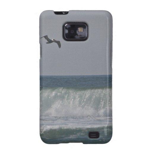 Pelícanos en la playa de Horsfall, Oregon Galaxy S2 Fundas