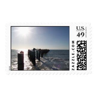 Pelícanos en pilares timbre postal