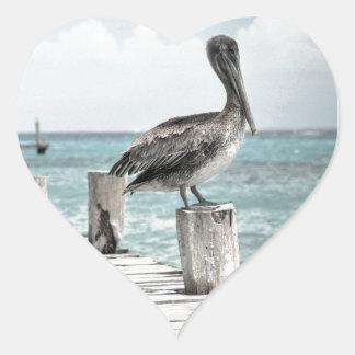 Pelícanos hermosos de Brown y agua azul Pegatina En Forma De Corazón