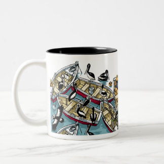 Pelicans and Boats Two-Tone Coffee Mug