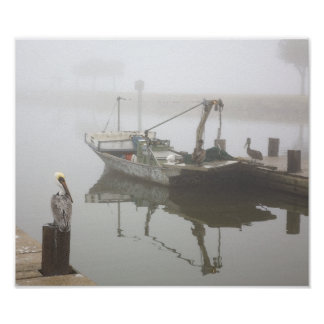 Pelicans and Fishing Boat in the Fog Poster