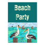 "Pelicans Beach party invitations 5"" X 7"" Invitation Card"