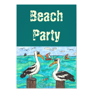 Pelicans Beach party invitations