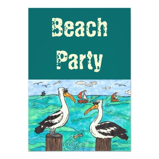 Pelicans Beach party invitations
