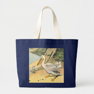 Pelicans Below the Rocky Cliffs Illustrated Large Tote Bag