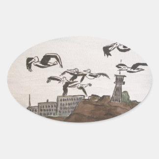 Pelicans Escaping The Rock, Alcatraz Isle San Fran Oval Sticker