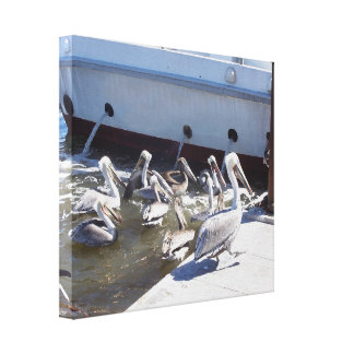 Pelicans & Fishing Boat Wrapped Canvas Canvas Prints