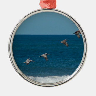 Pelicans flying in formation, Costa Rica Metal Ornament