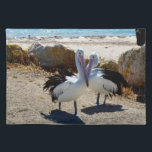 "Pelicans In Love, Cloth Placemat<br><div class=""desc"">Featured are two Pelicans Having A Cuddle At The Beach.</div>"