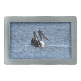 PELICANS IN POND DAM RURAL AUSTRALIA RECTANGULAR BELT BUCKLE