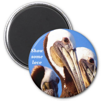 Pelicans Love_  Magnet_by Elenne 2 Inch Round Magnet