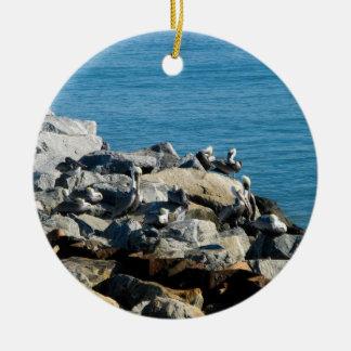 Pelicans on the Rocks Ceramic Ornament