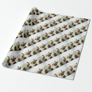 Pelicans perched on posts wrapping paper