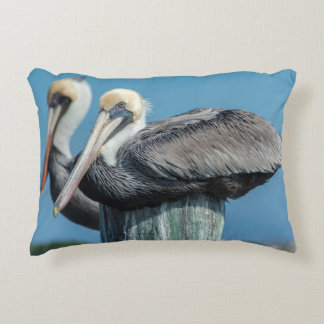 Pelicans roosting on pylon accent pillow