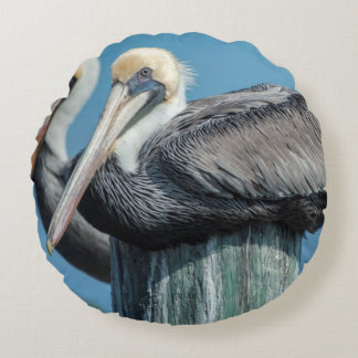 Pelicans roosting on pylon round pillow