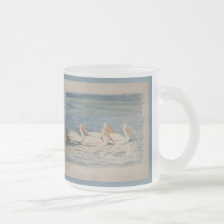 Pelicans Swimming on Calm Waters Frosted Glass Coffee Mug