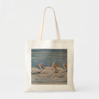 Pelicans Swimming on Calm Waters Tote Bag