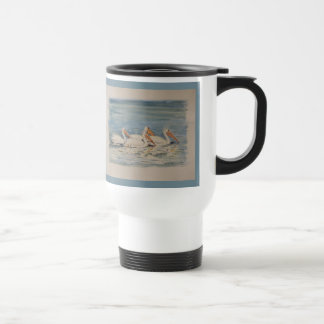 Pelicans Swimming on Calm Waters Travel Mug