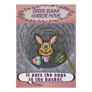 Película de terror divertida del conejito de póster