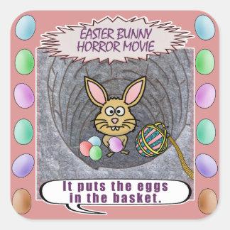 Película de terror divertida del conejito de pegatina cuadrada