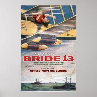 Película muda de la novia 13 del biplano de la póster