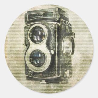 película retra de la cámara del Grunge urbano del Pegatina Redonda