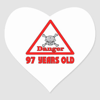 Peligro 97 pegatina en forma de corazón