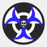 peligro bio-nuclear 2 pegatina redonda