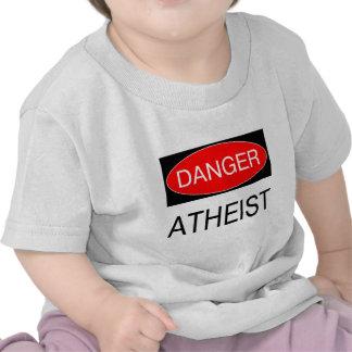 Peligro - bolso divertido ateo del delantal del camiseta