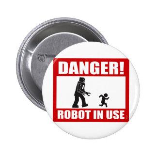¡Peligro! Botón funcionando del robot Pin Redondo De 2 Pulgadas