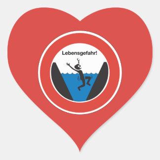 Peligro de ahogar la muestra, Alemania Pegatina En Forma De Corazón