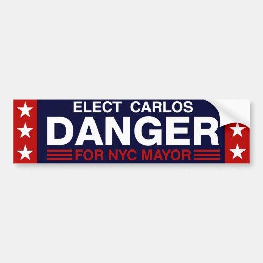 Peligro de Carlos para el alcalde de NYC Pegatina Para Auto