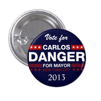 Peligro de Carlos para el alcalde de NYC Pin Redondo De 1 Pulgada