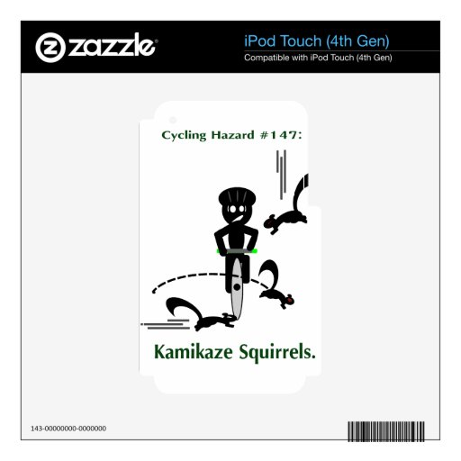 Peligro de ciclo: ardillas del kamikaze iPod touch 4G calcomanía