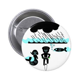 Peligro de ciclo: Temporales de lluvia torrenciale Pin Redondo 5 Cm