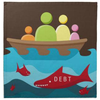 Peligro de la deuda servilletas imprimidas
