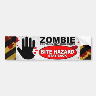 Peligro de la mordedura del zombi pegatina para auto