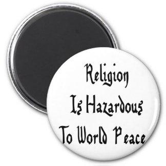 Peligro de la religión imán redondo 5 cm